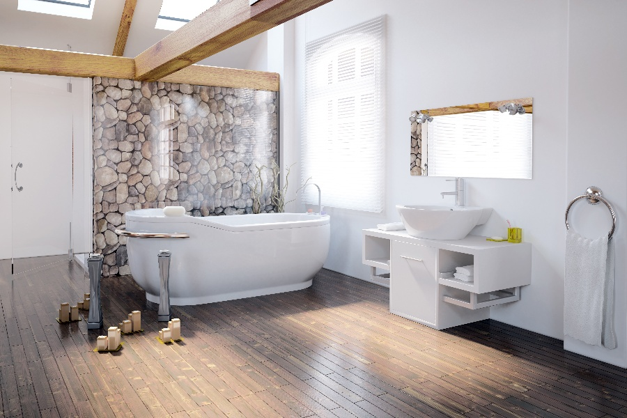Bathroom_RockWall_WoodFloor-1